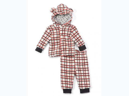 Coral Fleece Plush Baby Boy Jacket & Pants Set - Red & Black