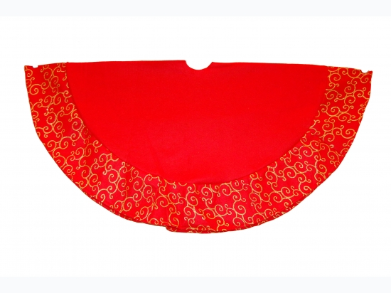 48 Inch Heavy Weight Tree Skirt With Glitter Scroll Design