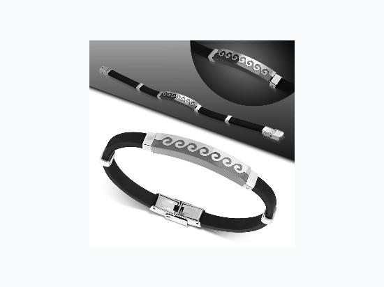Black Rubber Bracelet w/ Stainless Steel 2-tone Wave Curl Jigsaw Design