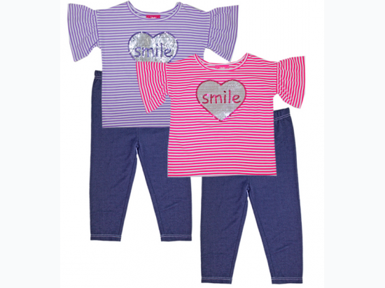 Girl's Yarn Dye Stripe Smile Top and Legging
