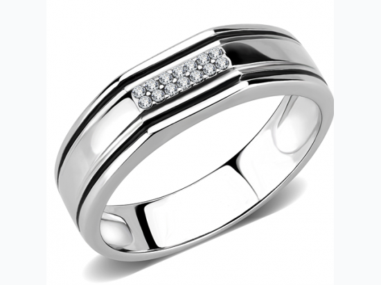 Mens Stainless Steel  High polished Band Ring with AAA Grade CZ Clear