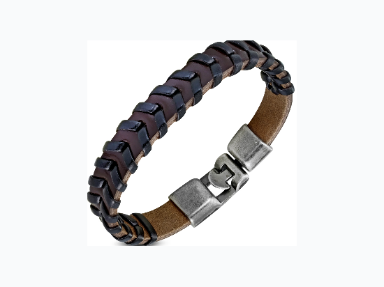 Brown PU Leather Weave Toggle Bracelet