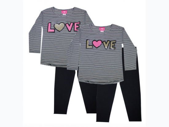 Infant Girl's Yarn Dye Stripe Top w Love Sequin Patch and Legging - Love Patch May Vary