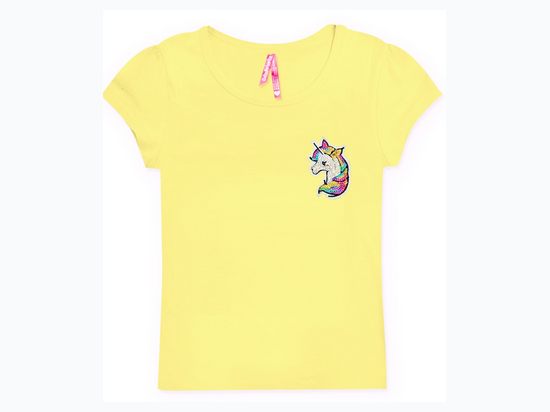 Girl's Sequin Unicorn Patch T-Shirt