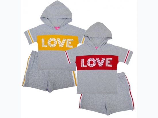 "Girl's ""LOVE"" Hooded Top and Short Set"