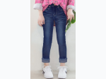 Girl's Frayed Hem Roll Up Jeans by Pink Latte