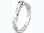 5mm | Stainless Steel Compression-Set Round Engagement Ring w/ Clear CZ  - Size 7