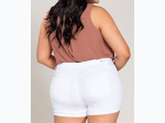 Plus Size Women's Mid-Rise Double Roll Cuffed Shorts in White