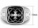 Mens Stainless Steel Ring in Black and Cream with Cross