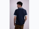 Men's Pique Polo with Contrast Striped Collar in Navy