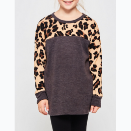 Girl's Sweatshirt With Leopard Print Upper and Sleeves - In Light Grey