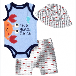 "Newborn Boy's ""Im A Great Catch"" 3 Piece Set"