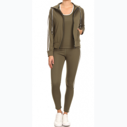 Three Piece Coordinated Activewear Set In Olive