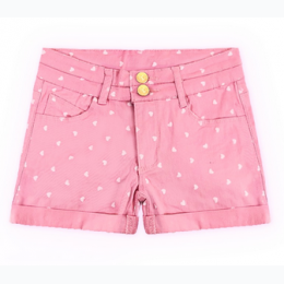 Girl's Heart Print Stretch Twill Shorts In Pink