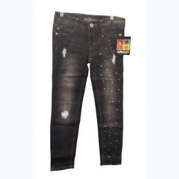 Girls Faded Distressed Black Wash Rhinestone Jeans