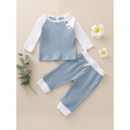 Baby's Unisex Ribbed 2pc Set With Button Accents