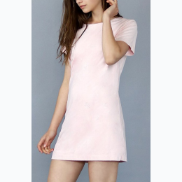 Women's Faux Suede Lined Short Sleeve Shift Dress in Blush Pink