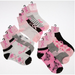 Women's Breast Cancer Awarness Ankle Socks - 1 Pair - Patterns Will Vary