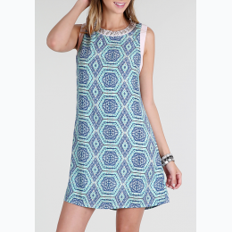 Women's Beaded Neck Print Shift Dress
