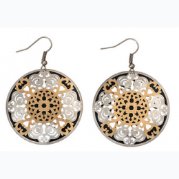 Small Tonal Filigree Earrings - Silver with Gold  Center