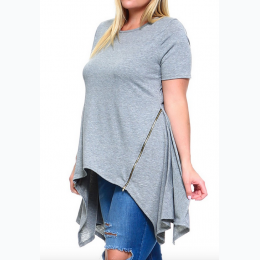 Extended Plus Size Women's Top with Side Zipper Design Detail - Grey