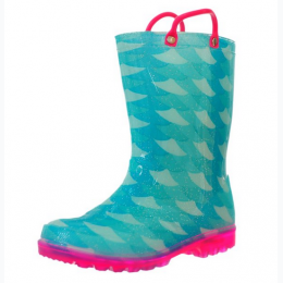 Youth Girl's Printed Light-Up Rain Boot - Fish Scales
