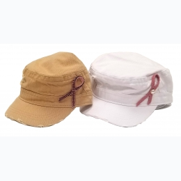 BCA Distressed Cadet Military Style Cap With Pink Ribbon