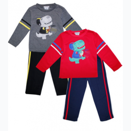 Toddler Boy Crew Neck Fleece Set With Football Dino Graphic