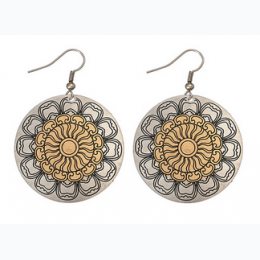 Small Tonal Filigree Earrings - Silver with Gold  Round Center