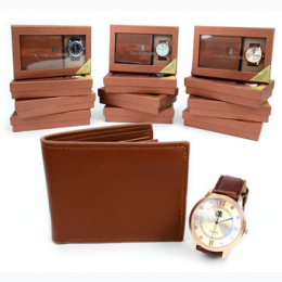 Men's Brown Bi Fold Leather Wallet and Watch Gift Set