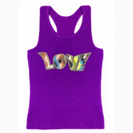 Girl's Multi Color Love Patch Racerback Tank