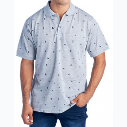 Men's Palm Tree Print Polo In Grey - Size Small