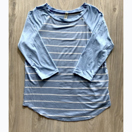 Girl's 3/4 Sleeves Striped Raglan Top - Blue -  Small