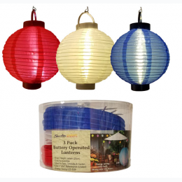"8"" LED Tealight paper Lantern 3pk - Red, White, and Blue"