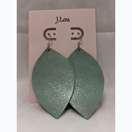 Teal Leaf Drop Earrings