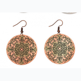 Small Tonal Filigree Earrings - Rose with Gold Floral Center