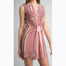 Women's Self Tie Front Striped Print Dress in Pink - Size Small