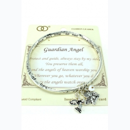 "Etched ""Guardian Angel"" Twist Bangle - One Size Fits Most"