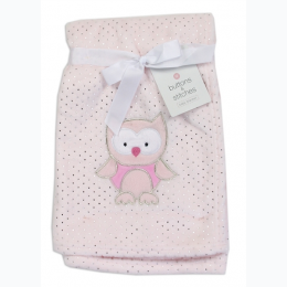 Soft Owl Applique Baby Blanket