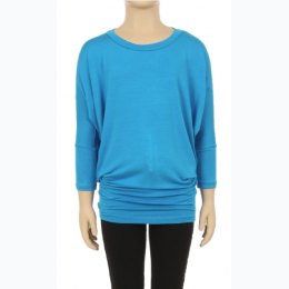 Girl's Solid Color Dolman Sleeve Top - Turquoise- Size 8