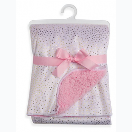 Pink Sparkle Velour and Sherpa Baby Blanket