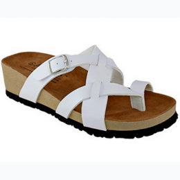 Women's Faux Leather Low Wedge Sandal in White - Size 6 1/2