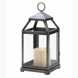 Rustic Silver Contemporary Iron Candle Lantern