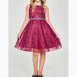 Girl's Shiny Floral Lace Dress In Burgundy
