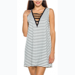 STRIPED LADDER-CUT FRONT SLEEVELESS DRESS