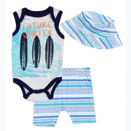 "Newborn Boy's ""Future Surfer"" 3 Piece Set"