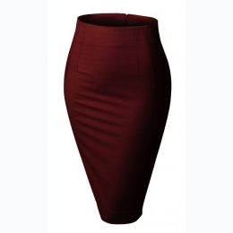 Women's Fitted High Waisted Pencil Office Midi Skirt