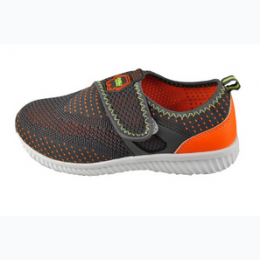 Infant Knit Upper Velcro Enclosure Athletic Shoe in Dark Grey and Orange