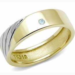 Men's Two-Tone IP Gold Stainless Steel Ring with Sea Blue Crystal