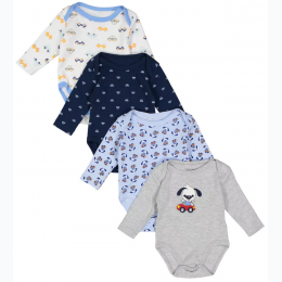 Baby Boys 4 Pk Short Sleeve Printed Onsies - Size 6-9 Month
